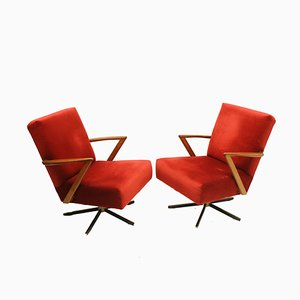 Raspberry Swivel Chairs, 1970s, Set of 2