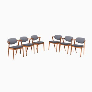 Teak Model 42 Dining Chairs by Kai Kristiansen for Slagelse Møbelværk, 1960s, Set of 6