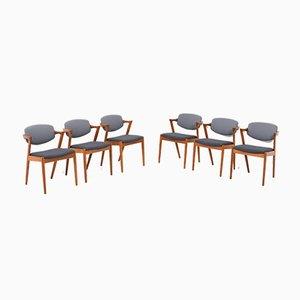 Teak Modell 42 Esszimmerstühle von Kai Kristiansen für Slagelse Møbelværk, 1960er, 6er Set
