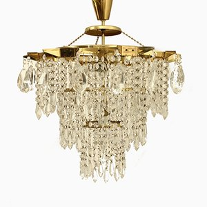 Crystal Glass Chandelier from Kamenický Šenov, 1970s