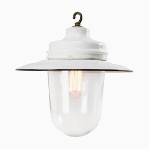 Vintage Industrial White Enamel, Brass, Porcelain, and Clear Glass Pendant Lamp