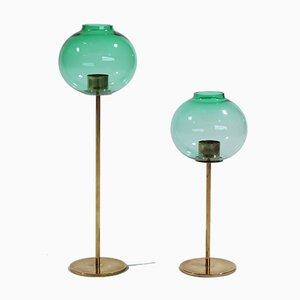 Scandinavian Modern Brass & Glass Candleholders by Hans-Agne Jakobsson for Hans-Agne Jakobsson AB Markaryd, 1960s, Set of 2