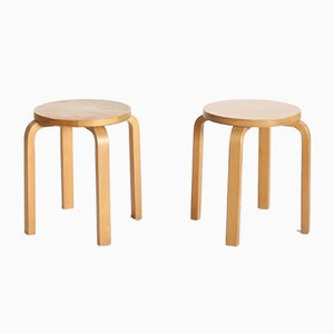 Laminated Birch Model E60 Stools by Alvar Aalto for Artek, 1970s, Set of 2