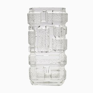 Mid-Century Pressed Glass Brickwork Vase by Jiri Zejmon for Rudolfova Huť