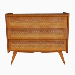 Light Oak and Rattan Chest, 1950s
