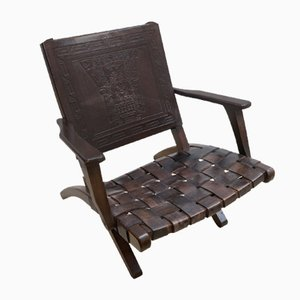 Peruvian Embossed Leather Folding Chairs, 1960s, Set of 2
