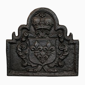 Antique English Cast Iron Fire Back, 1880s