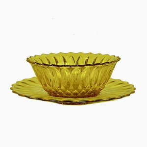 Yellow Glass Bowl & Dish, 1960s, Set of 2