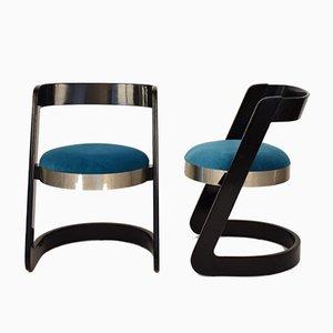 Esszimmerstühle aus Lackiertem Holz & Samt von Willy Rizzo für Mario Sabot, 1970er, 2er Set