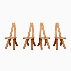 Vintage Model S45 Dining Chairs by Pierre Chapo for Atelier Pierre Chapo, 1970s, Set of 6