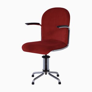 Gispen 456 Desk Chair with New Red Manchester Upholstery, 1950s