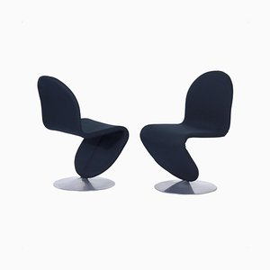 System 123 Chairs in New Black Fabric by Verner Panton for Fritz Hansen, 1970s, Set of 2