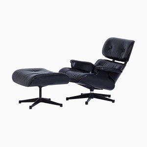 Sessel + Fußhocker von Charles Eames für Vitra, 1980er