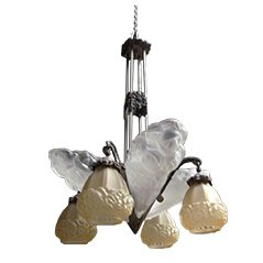 Art Deco Frosted Glass Chandelier by David Gueron for Verrerie D'Art Degue