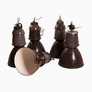 Große emaillierte Fabriklampe von EFC, 1950er