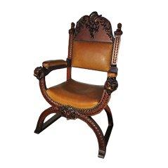 Chaise Trône Antique en Bois Sculpté et en Cuir
