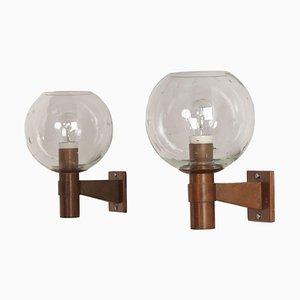 Paar Messing Wandlampen mit Glaskugeln und Tropfenform 1960
