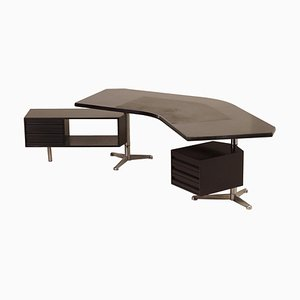 Boomerang Executive Desk Model T96 by Osvaldo Borsani for Tecno, 1950s