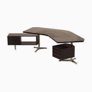 Boomerang Executive Desk Model T96 by Osvaldo Borsani for Tecno, 1950s
