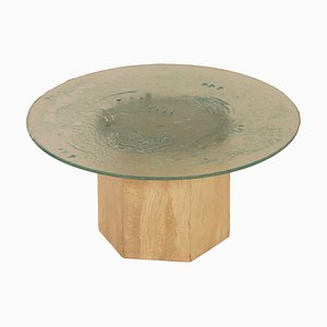 Italian Coffee Table of Travertine and Glass, 1970s