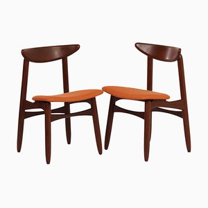 Danish Dining Chairs in Teak and orange fabric, 1960s