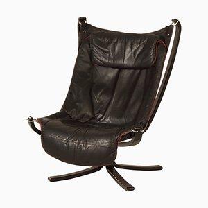 Schwarzer Leder Falcon Chair von Sigurd Russel für Vatne Mobler, 1970er