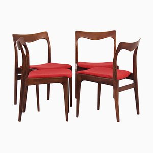 Red Rosewood Dining Chairs by AWA, 1960s, Set of 4