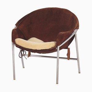 Dark Brown Suede Sling Chair by Erik Jørgensen for Bovirke, Denmark in 1953