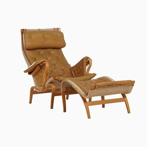 Leather Pernilla Lounge Chair with Ottoman by Bruno Mathsson for Dux