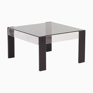 Small Square Vintage Coffee table made of Black Ashwood, Perspex and Glass, 1970s