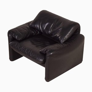 Maralunga Easy Chair by Vico Magistretti for Cassina, 1970s – Black Leather