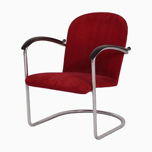 Gispen 414 Armchair by W.H. Gispen, 1935 – Red Rib Fabric