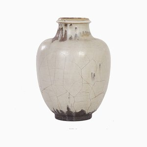 Large Hand-Made Ceramic Mobach Vase with White, Brown and Black Glaze, 1930s