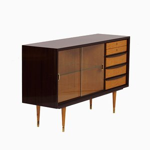 Nut Wood Sideboard with Glass Showcase and Brass Details, 1960s