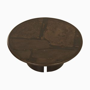 Brutalist Coffee Table by Paul Kingma, 1988 – Round, Brown, 100cm