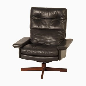 Danish Swivel Chair in Black Leather, 1970s.