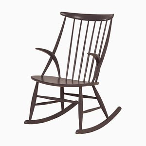 Sedia a dondolo IW3 di Illum Wikkelsø per Niels Eilersen, Danimarca, anni '50