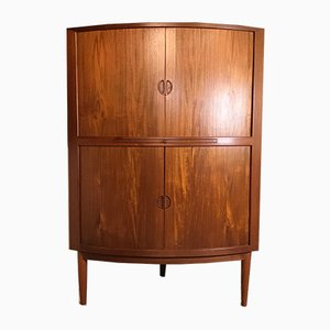 Danish Teak Corner Cabinet with Tambour Doors, 1960s