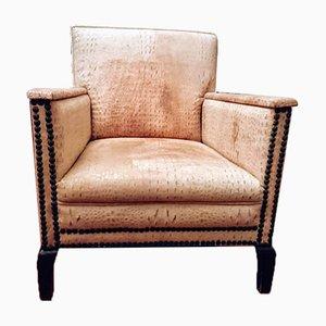 Vintage Italian Leather Armchair, 1930s