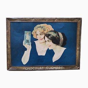 Cartel Suchard vintage con forma de plato de chocolate