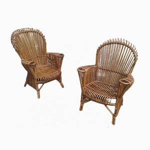 Mid-Century Rattan Lounge Chairs, 1950s, Set of 2