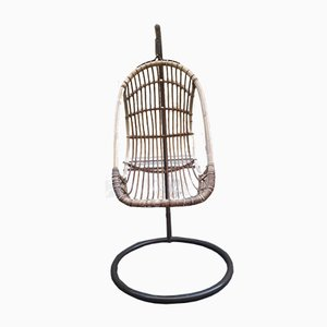 Mid-Century Iron and Rattan Rocking Chair, 1950s