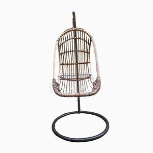 Rocking Chair Mid-Century en Fer et en Rotin, 1950s