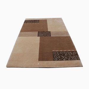 Moderner nepalesischer Teppich in Beige & Braun aus Wolle & Seide, 2001