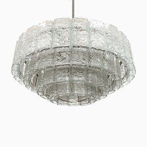 Großer Deutscher Eisglas Kronleuchter von Doria Leuchten, 1960er
