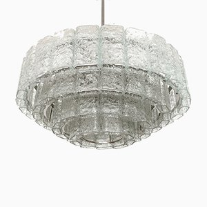 Large German Ice Glass Chandelier from Doria Leuchten, 1960s