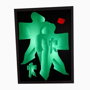 Grüne und rote Plexiglas Wandlampe, 2000er