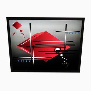 Applique Murale Rouge et Bleue en Plexiglas, 2000s