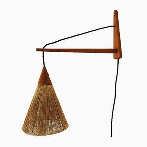 Teakholz Wandlampe von Temde, 1960er