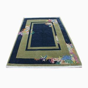 Nepalese Modern Blue & Green Wool Carpet, 2001